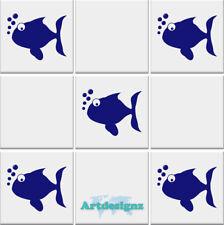 FISH Tile Stickers Bathroom Ocean Nautical Vinyl Wall Art Transfer Decal