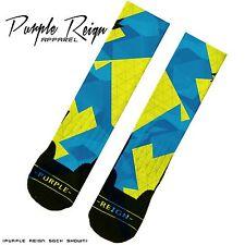 NIKE Kevin Durant KD 6 VI SONIC YELLOW SEAT PLEASANT Custom Premium Socks
