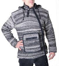 BAJA NEPAL hombre capucha chaqueta de punto Poncho Jersey Lana Forro Polar
