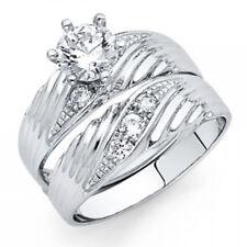Bridal Set 14k White Gold Engagement Ring Simulate Diamond Matching Wedding Band
