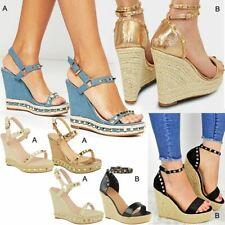 Womens Ladies Studded Esapdrille Wedges High Heel Sandals Summer Platforms Size
