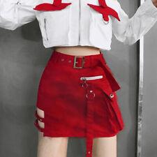 Women Ladies Zipper Skirt Gothic Punk Shorts Dance Clubwear Mini Bodycon Skirts