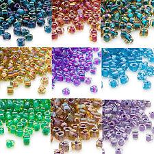 100 Miyuki Glass Triangle Seed Beads 5/0 Inside Color Two Tone Lined Beads