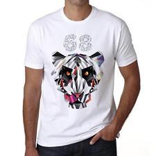 68 Geometric tiger Tshirt, Hommes Tshirt Blanc, Cadeau Tshirt