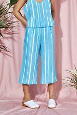 THE WHITEPEPPER Hipster Wide Leg Pleat Culottes Blue Stripe Print #8E194