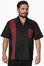 ROCKABILLY SHIRT Black Bowling Shirt Mens 1950s style Retro Tartan Panel