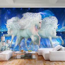 2254ea6b4c453 VLIES FOTOTAPETE Pferd gold blau TAPETE Kinderzimmer WANDBILDER XXL  Wohnzimmer