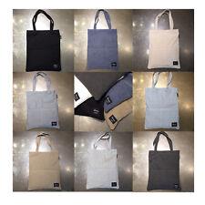 Korea Two Pocket Washing Cotton Tote Shoulder Shopping Eco Bag Canvas Men Women