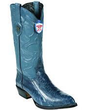 Wild West Genuine JEAN BLUE Ostrich Leg Cowboy Western Boots J Toe Handmade EE