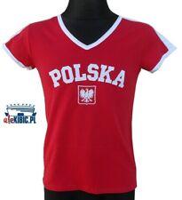 Great cotton red t-shirt - Poland Team : Koszulka kibica damska Polska czerwona
