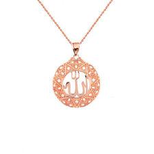 "Solid 10k Rose Gold Diamond Filigree Round Allah Pendant Necklace (1"")"