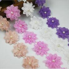 1 Yards Pearl Blumenspitze Trim Hochzeit Stickerei Nähen Handwerk DIY