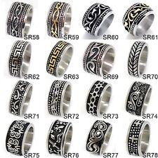 US Seller Men's Vintage Silver or Gold Stainless Steel Designed Band Ring HS29