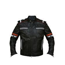 Men's Vintage Black Warm Genuine Real Leather Retro Biker Jacket