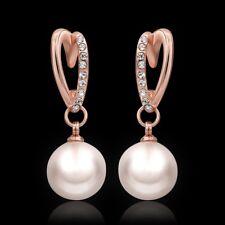 Ohrringe Ohrhänger Herz Perlen mit  Zirkonia 750er 18K Rose Rotgold vergoldet