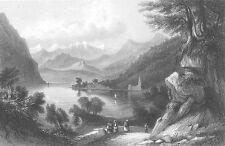 Italy, LAKE LAGO LUGANO Monte San Giorgio SAILBOAT ~ 1841 Art Print Engraving