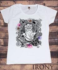 Mujer camiseta Namaste Ganesh Lotus flores Yoga meditación Zen estampado TS150