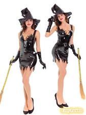 Ladies Deluxe Wet-Look Wicked Witch Costume Womens Halloween Costume + Hat