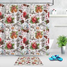 Christmas Elements Pattern Fabric Shower Curtain Hooks Xmas Decor Bathroom Mat