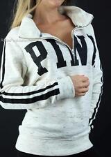 Victoria's Secret PINK Boyfriend Half Zip Mockneck Pullover Marl Logo Sweatshirt