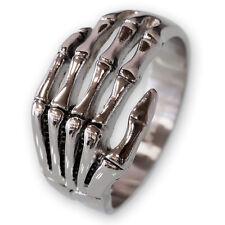 Edelstahl Ring Knochen Hand silber skelett bones biker gothic herren schmuck