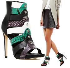 Green Multi-Color Snake Skin Print Strappy Open Toe Stiletto Bootie Heels, 6 -11