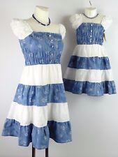 Neu Kleid 104 - 170 blau weiß Mädchen Retro Blumen Gesmokt Lagenlook Girl w