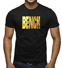 Men's Gold Foil Grunge Bench T Shirt Muscle Beast Lift Gym Fitness Workout Tee