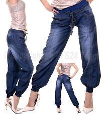 Haremshose Pumphose Pluder Boyfriend Sarouel-Aladin Harem Kordelzug Jeans XS-XL