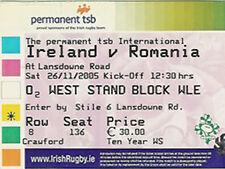 IRELAND v ROMANIA 26 Nov 2005 RUGBY TICKET