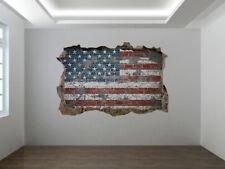 Bandera Americana en un Ladrillo Pared Foto Agujero Pegatina Mural para