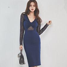 Elegante vestito abito tubino scollo blu pizzo elegante morbido ginocchio  4862 2fd2da5a810