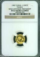 1987 PROOF GOLD PANDA 1/20 Oz. TOKYO EXPO SINO-JAPANESE FRIENDSHIP NGC PR67 PF67