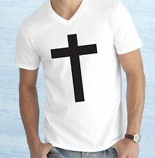 RELIGION CROSS CRISTIANITY INDIE GOTHIC JESUS V-NECK T SHIRT MEN WOMEN KIDS