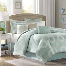 Beautiful 7 Pc Ocean Blue Green Sea White Medallion Modern Chic Comforter Set