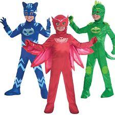 Boys Girls Deluxe PJ Masks Costume Childrens Superhero Fancy Dress Outfit