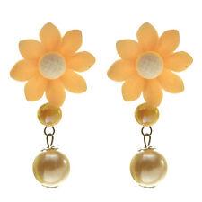 Boucles d'oreilles FLEUR fimo ORANGE perles imit. culture Beige - idée cadeau