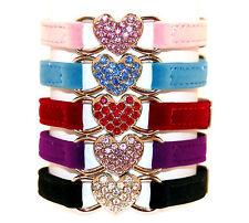 Cat Collar Kitten Crystal Diamante Heart Velvet Safety Elastic Bell 5 Colours