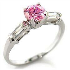 Bague rhodiée solitaire rose zircons transparents bijou femme neuf choix taille