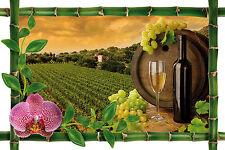 Sticker mural trompe l'oeil décobambou  Raisin vin réf 960