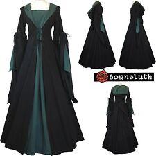 Mittelalter Renaissance Gewand Kleid Kostüm Milienn Schwarz-Dunkelgrün XS-56