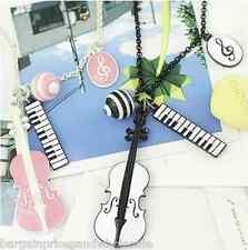 Vintage Retro Music Guitar Violin Piano Theme Pendant Necklace Black/Pink