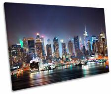 New York City Night Skyline SINGLE CANVAS WALL ART Picture Print