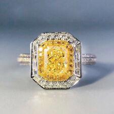 Gorgeous 925 Silver Women Wedding Rings Princess Cut Citrine Ring Size 6-10