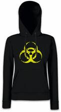 BLACK BIOHAZARD SYMBOL Damen Hoodie Kapuzenpullover Goth Cyber Logo Gothic Sign