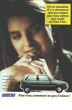 PUBLICITE ADVERTISING  1989   FIAT UNO , 4 à 6 cv essence diesel turbo