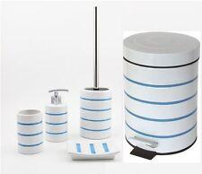 NAUTICA BLUE STRIPE BATHROOM ACCESSORY SET SOAP DISPENSER TUMBLER PEDAL BIN SET