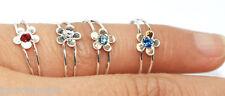NUOVO Thai ossidato 925 anelli di filo d'argento GEMMA punta delle dita anello aperto