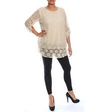 Ladies Floral Sequin Net Crochet Top Dress Tunic 2 Piece Vest Plus Size 12-18
