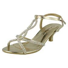 Anne Michelle L3417 Ladies Gold Pu Diamante Strap Shoe (32B)